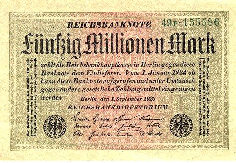 Billete de 50 millones de Reich Marks, ejemplo de la hiperinflación alemana
