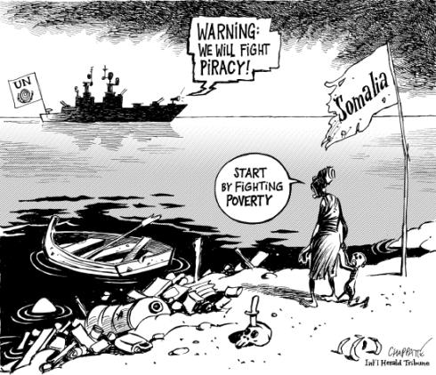 """""""¡Venimos a combatir la piratería!"""" """"Comiencen por combatir la pobreza"""""""