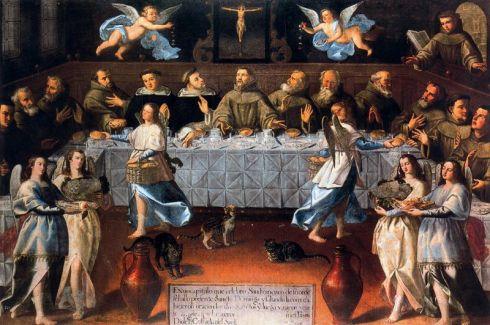En este cuadro podemos ver al lector en la esquina superior derecha de la imagen. Felipe Gil de Mena, San Francisco y Santo Domingo en el refectorio, (segunda mitad del XVII)