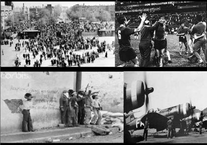 Mosaico con distintas imágenes de lo sucedido entre el 14 y el 18 de julio de 1969 (fuente: La opinión Popular)