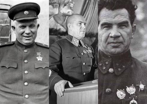 De izquierda a derecha Jrushchov, Zhúkov y Chuikov