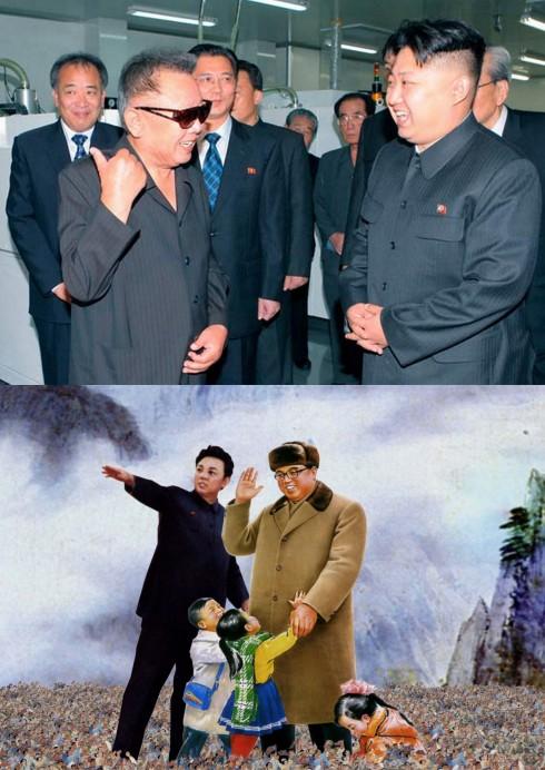 La familia Kim, tres generaciones de dictadores: en la imagen superior KimJong-il y su hijo Kim Jong-un; en la inferior unos idealizados Kim Il-sung y su hijo Kim Jong-il. La familia que oprime unida, permanece unida