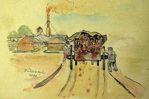 Un camión cargado de prisioneros llega al campo, al fondo las inquietantes chimeneas. Obsérvese que, junto a la firma del autor figura el número de prisionero. Fuente El Mundo.es