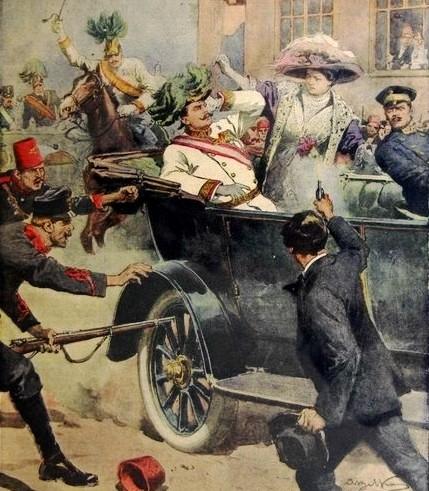 Dibujo de 194 representando el asesinato de Francisco Fernando de Austria a manos de Gavrilo Princip